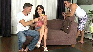 Girl teasing guys