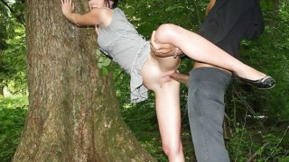 Sexy brunette fucked in the forest Thumbnail