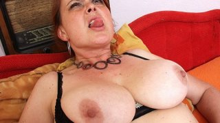Amateur milf Lora with big natural tits and dildo Thumbnail