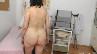 Gray gilf mom gray bushy muff inspection
