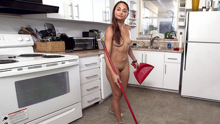Valentina Vixen wearing nothing but trainers cleaning the kitchen Thumbnail