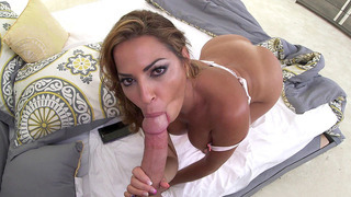 Julianna Vega sucks on that cock, while starring right at your eyes