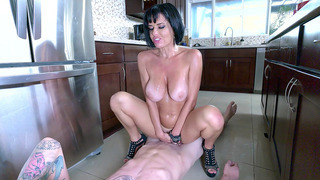 Veronica Avluv wearing nothing but high heels rides him in the kitchen Thumbnail