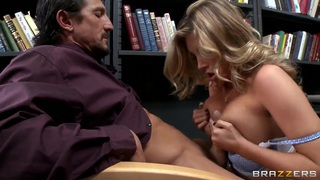 Busty schoolgirl Samantha Saint plays with the cock Thumbnail