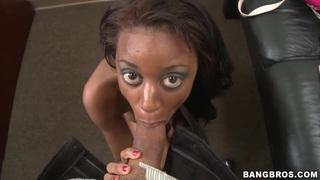 Busty tight ass ebony Gigi sucks stiff cock in pov