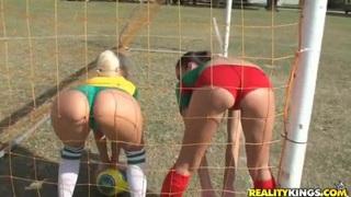 Molly Cavalli and Tiffany Tyler play football Thumbnail