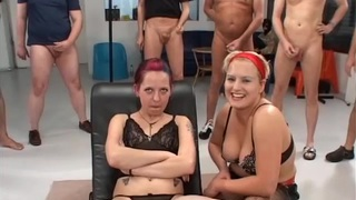 hot gangbang with two german chicks