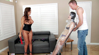 Francesca Le and Mark Wood have Yhivi mummified in plastic wrap Thumbnail