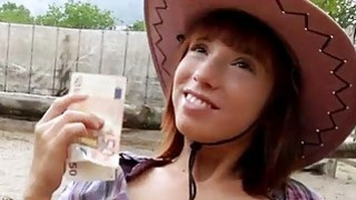 Pretty amateur cowgirl Tina Hot fucked outside