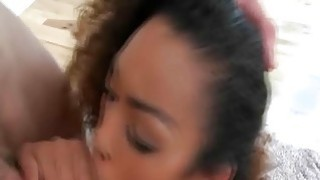 Super cute black teen girlfriend blowjob
