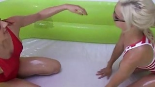 Oil wrestling of four cute besties turns into oral session