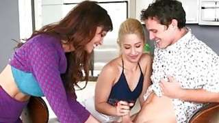 MILF Syren Demer catches couple fooling around the kitchen