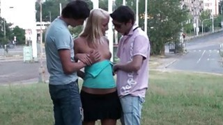 PUBLIC gang bang with a pretty teen girl in broad daylight Thumbnail