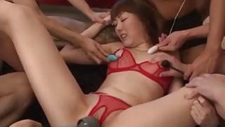 Lingerie model Rei Furuse gets jizzed after a wild fuck
