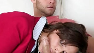 Stepmom Syren Demer threesome with teens on the couch