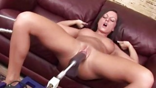 Busty brunette plays with fucking machine Thumbnail