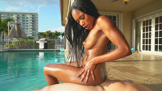 Chocolate babe Indigo Vanity riding juicy cock by the pool