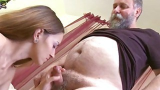 Crazy old stud fucks mouth twat of a young girl Thumbnail