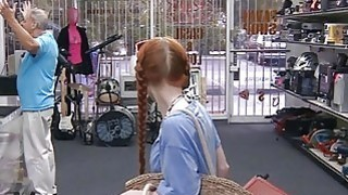 Amateur red hair babe gets pussy fucked at the pawnshop Thumbnail