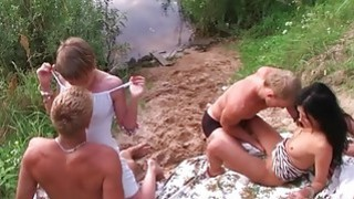 Truly crazy sex party outdoors
