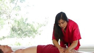 Busty Mia Li gets her cunt pounded hard on the massage table
