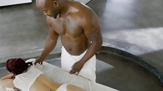Massage chick gets anal tag teamed by two black guys