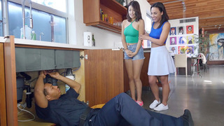 Amara Romani and Izzy Bell sucking on the plumber's big black cock Thumbnail