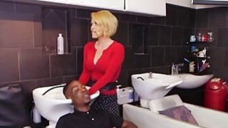 Two horny dudes with big cocks fucks hair stylist in both holes Thumbnail