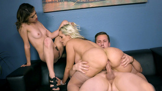 Alena Croft rides the cock and licks Kristen Scott's twat at the same time Thumbnail