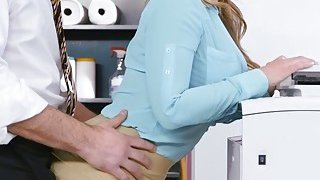 Hot office babe Natasha gets a welcome fuck