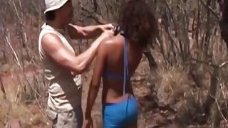 African submissive slut deepthroated and fucked hard outdoor Thumbnail