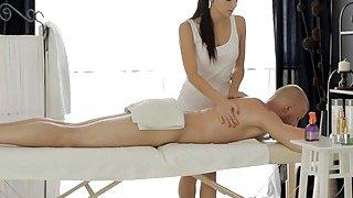Skinny brunette teen masseuse pounded on massage table Thumbnail