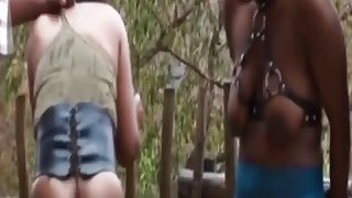 Ebony slaves from Africa get tortured outdoors