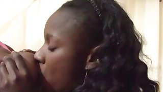 Black hotties suck a big white dick and get pussies smashed in threesome Thumbnail