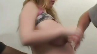 Milky big tits blonde pregnant girlfriend takes two dick for her sore pink horny vagina