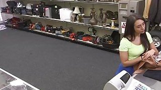 Desperate teen Lilly Hall sucks and rides cock in the floor inside the pawnshop