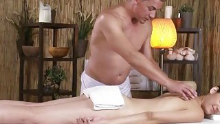 Lusty brunette babe takes masseur's dick and sucks it good before it ends up in her pussy Thumbnail