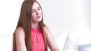 Freckled redhead licks female agent Thumbnail