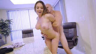 Busty Brooke Beretta leaning on the desk gets pussy pounded Thumbnail