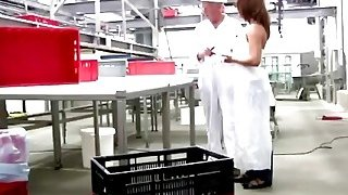 Grey haired man fucking cute brunette babe at work Thumbnail