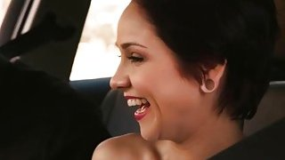 Teen bitch Cadey Mercury pounded in the car in public