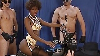 A very hot ebony babe gets all holes fucked by white men at a photo session Thumbnail