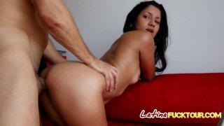 Blowjob Latina sucks white dick throat