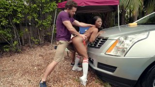 Sarah Banks leaned on the car and got fucked from behind Thumbnail